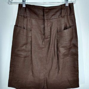 Zara Woman Medium Brown 100% Flax Linen Brown
